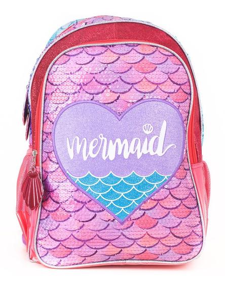Mochila Kooshi Lentejuelas Mermaid Rosa Espalda 17