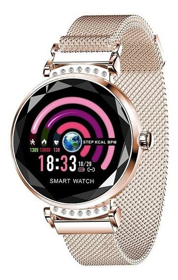 Reloj Deportivo Inteligente H2 Smartwatch Para Mujeres- Oro
