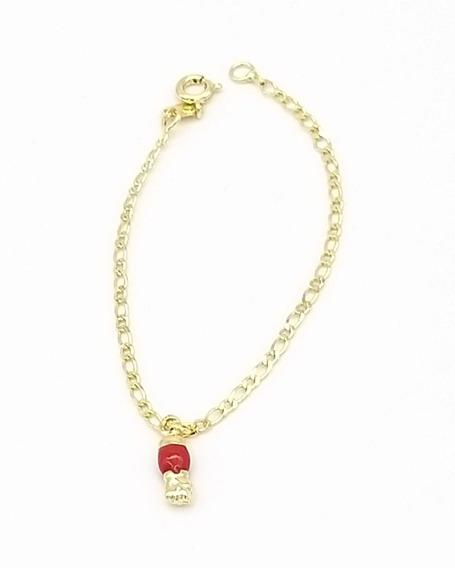 Pulseira Infantil Folheado A Ouro 18k Figa Vermelha 0021