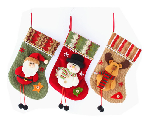Imagen 1 de 5 de Papá Noel Muñeco De Nieve De Reno De Navidad Calcetines De N