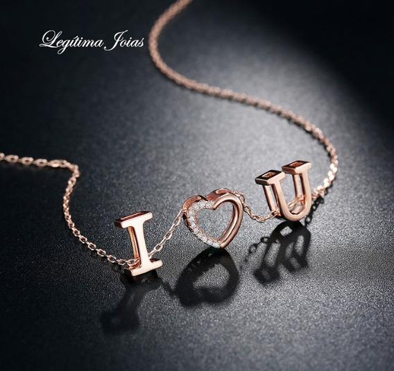 Colar Love De Folheado A Ouro Rose 18k - Lindo E Cravejado