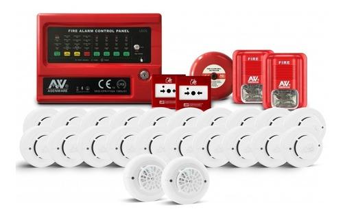 Imagen 1 de 3 de Kit Sistema Incendio Convencional 4 Zonas Con 20 Detectores