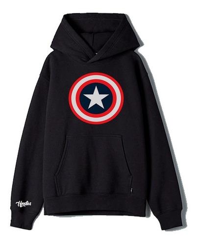 Buzo Buso Saco O Hoodie De Capitán América Negro Niño
