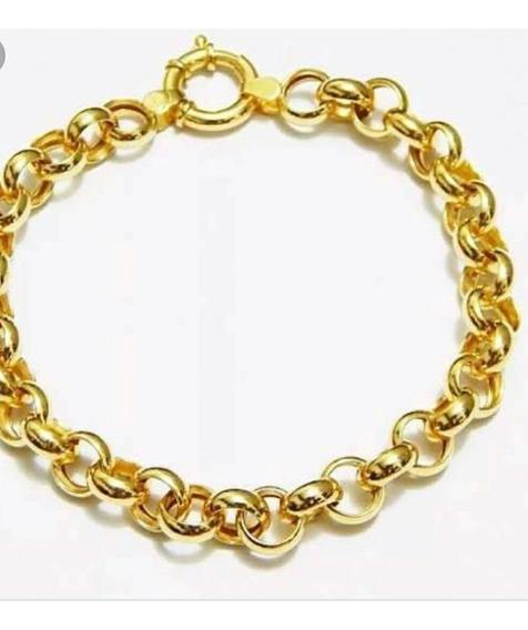 Pulseira Feminina Folheado Em 3 Camadas De Ouro 18k