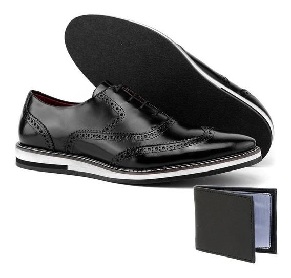 Sapato Oxford Casual Social Em Couro + Brinde