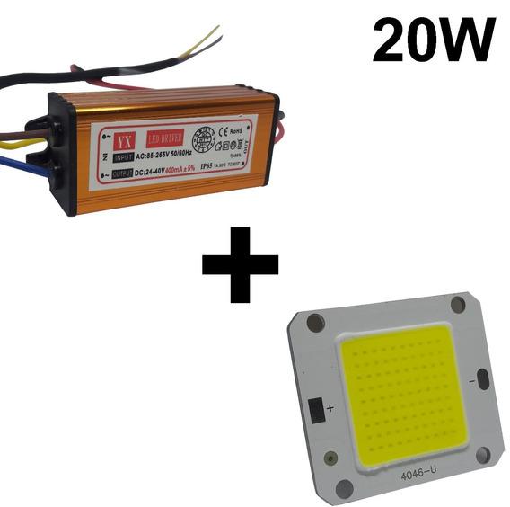 Chip + Reator Driver Reposição Refletor Led 20w Bivolt Kit14
