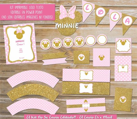 Kit Imprimible Minnie Rosa/dorado Silueta Textos Editables!