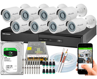 Kit 8 Câmeras Cftv Hikvision Full Hd 1080p 2mp Dvr 8 Canais