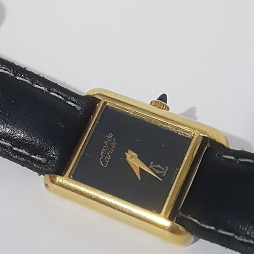 Relogio Cartier Acorda Antigo 01 Todo Em Plaque De Ouro Lind