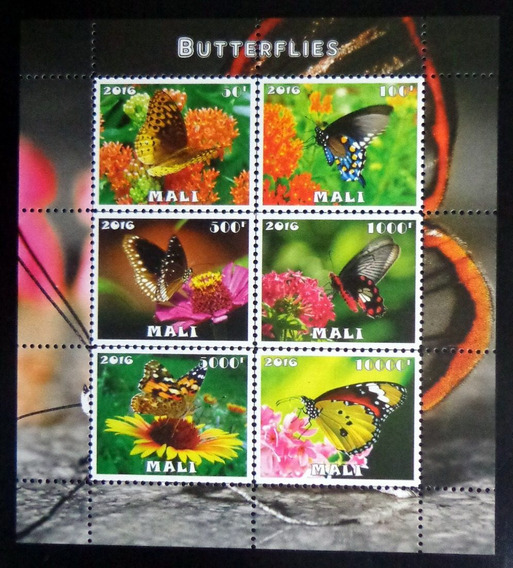 Mali Mariposas, Bloque 6 Sellos 2016 Mint L9882