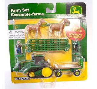 Set Diorama Ertl Granja 2 Caballos Tractor Granjeros Corral