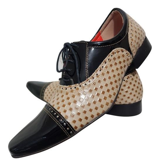 Sapato Masculino Em Couro Preto Com Tricê Bege Cod. 699
