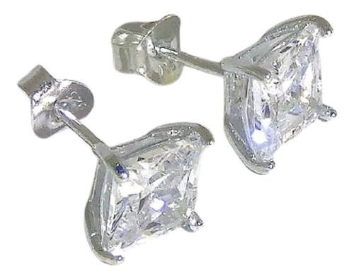 Aros Plata 925 Cuadrados Cubic Engarzados 4mm Garantía