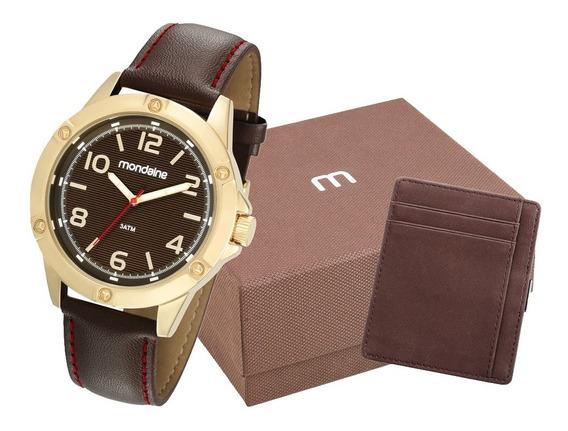 Relógio Mondaine Masculino Dourado Couro + Porta Cartões