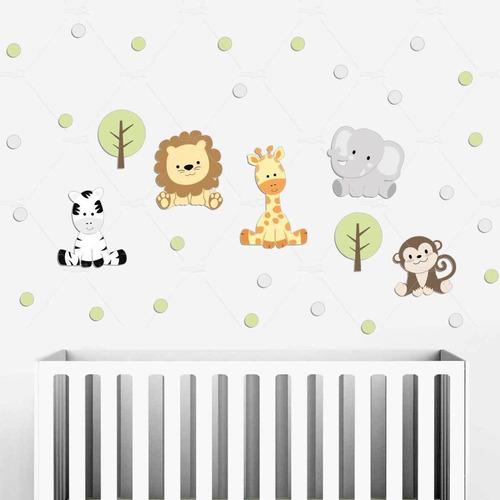 Imagem 1 de 4 de Amiguinhos Safari Animais Bolinhas Adesivos Parede Infantil