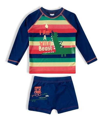 Imagem 1 de 6 de Conjunto Bebe Infantil Sunga Camiseta Praia  Proteção Solar