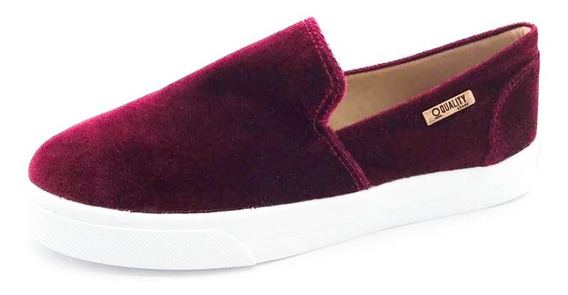Tênis Slip On Quality Shoes Feminino 004 Veludo Bordô