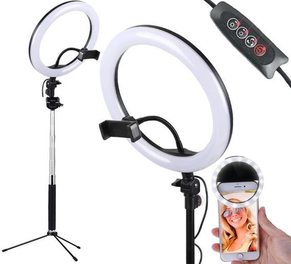 Kit Youtuber Led Ring Light Tripé Suporte Celular Selfie Refletor Para Vídeos Youtube Maquiagem Profissional