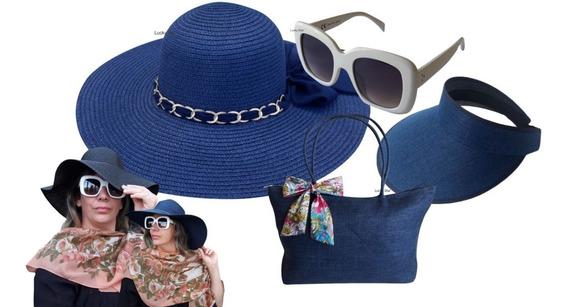 Óculos Sol Feminino + Chapéu Praia + Viseira + Bolsa