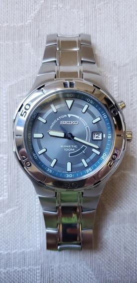 Seiko Kinetic 100m Cinza Azulado 5m62-0cd0
