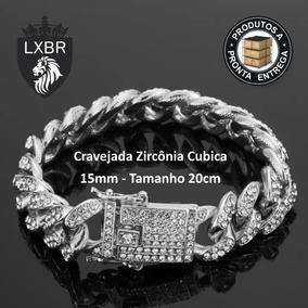 Pulseira 20cm Groumet Prata Cravejada Zirconia Mc Lxbr Bl39b