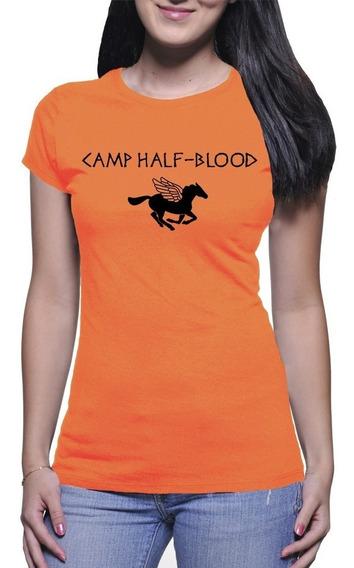 Camiseta Babylook Camp Half Blood Percy Jackson Algodão 2371