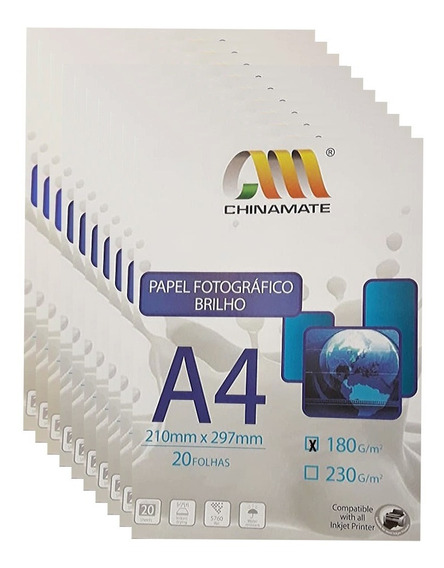 500 Folhas Papel Glossy Fotográfico A4 180 Gs Prova D