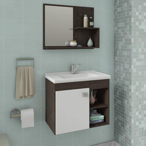 Gabinete De Banheiro Cuba E Espelheira 1 Porta 2 Fg