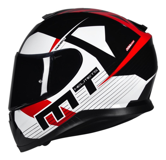 Capacete Moto Mt Thunder 3 Ray 4 Estrelas Bicomposto + Nfe