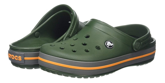 Crocs Crocband Originales -forest Green Slate Grey-