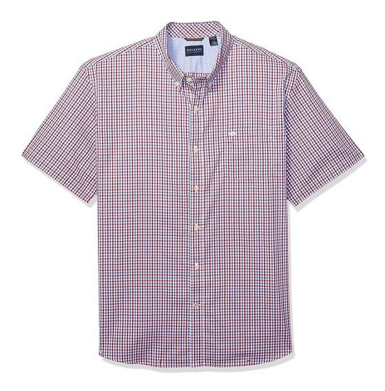 Dockers - Camisa Manga Corta Para Hombre. C: Red-blue Gingha