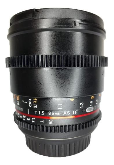 Lente Rokinon 85mm T1.5 P/ Canon Seminova Impecável