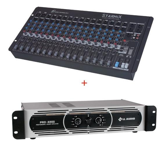 Kit Mesa Starmix 16 Canais + Potência Pro2200 550 Watts Nca