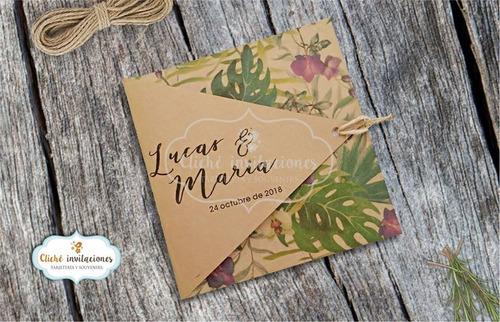 Imagen 1 de 2 de Invitaciones De Boda En Papel Reciclado Kraft -tarjetas Boda