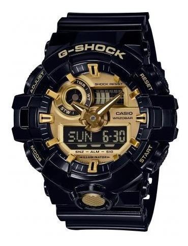 Relógio Casio G-shock Ga710gb-1a Masculino Preto - Dourado