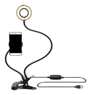 Iluminador Ring Light Led Mesa Usb Suporte Celular Selfie