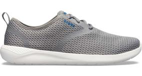 Zapato Crocs Caballero Literide Mesh Agujetas Gris/blanco