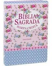 Bíblia Sagrada C/ Harpa Cristã Letra G. Média Florida Rosa