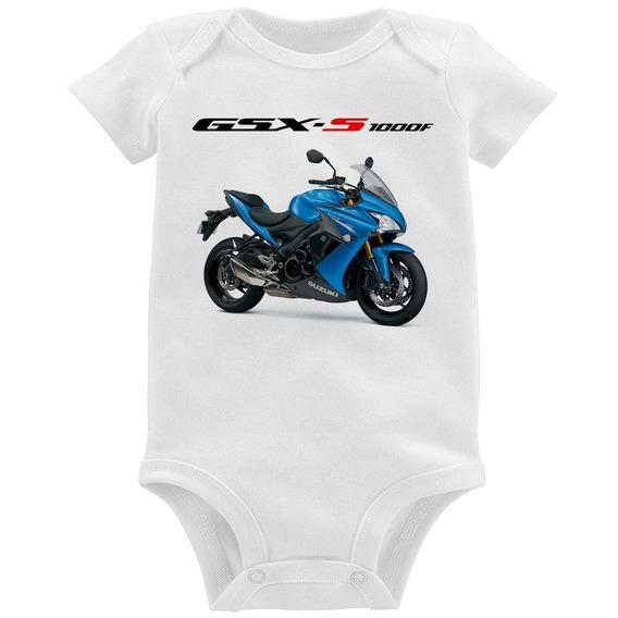 Body Bebê Moto Suzuki Gsx S 1000 F Azul