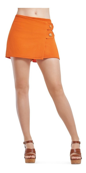 Short Falda Naranja De Dama Con Botones Devendi Denim Co.