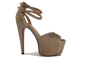 Sandália Feminina Dourada ( Com Brilho ) - Nº 41 ( Usada )