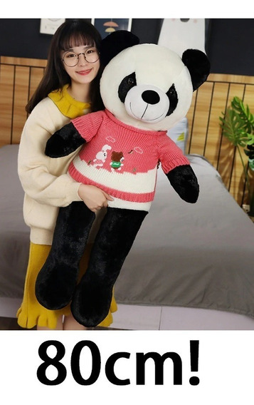 Urso Panda Com Roupa Pelúcia Grande 80 Cm Presente Namorada