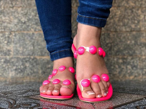 Rasteirinha Feminina Bolinha Rosa Neon Rasteira Verão