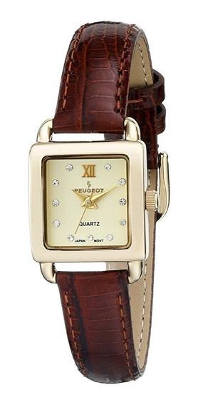 Reloj Peugeot Cuarzo 20mm Piel Café Mujer 3034br