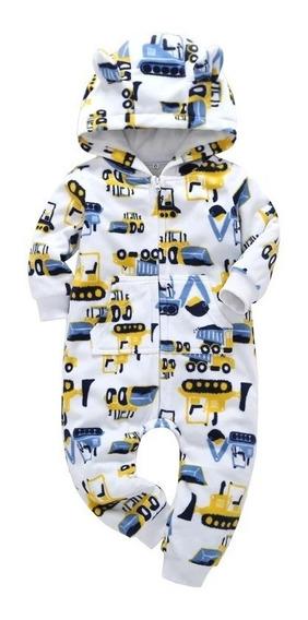 Macacão Bebê Fleece Soft Com Capuz Tratores