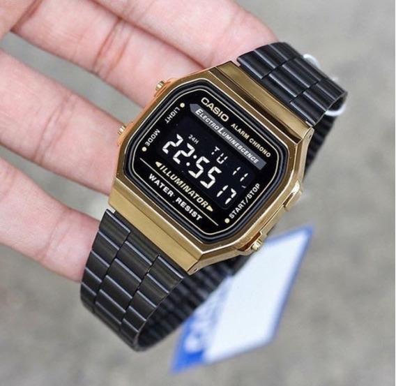 Relógio Cassio Retro Dourado Preto A168 Unisex Vintage Top