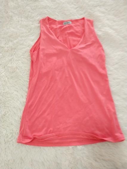Musculosa Mujer Licra Remera Rosa T S Escote En V