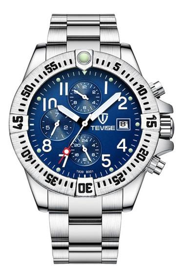Relógio Tevise Automático Mecânico Inox 839-10 Original Azul