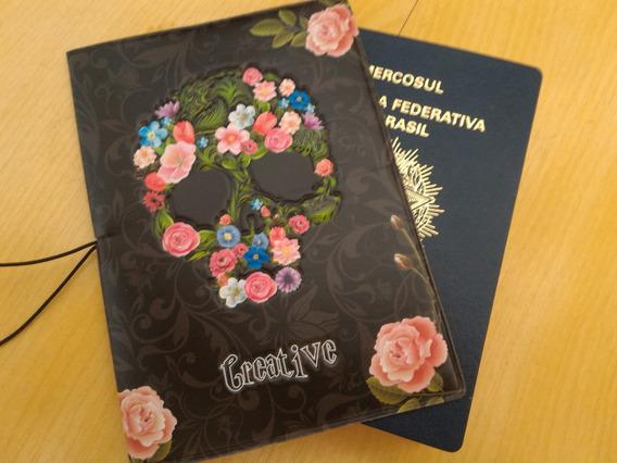 Capa Para Passaporte Florido Creative Art Caveira Original @
