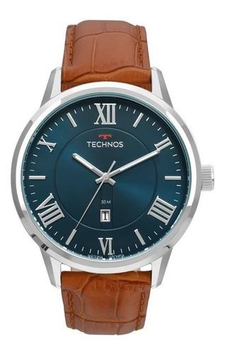Relógio Technos Masculino Classic 2115mtx/0a Azul Couro Aço